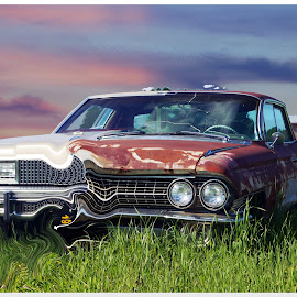 Time Warp Car by Joerg Schlagheck - Digital Art Things ( amazing, time machine, time warp, car, old, new, old and new, grass, wreck, rusty )