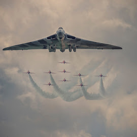 The Vulcan Ay Play by Chris Paul - Transportation Airplanes ( clouds, red arrows, airforce, old, vintage, airplane, jets, aviation, vulcan, vulcan bomber, bomber, aircraft, raf, fast )