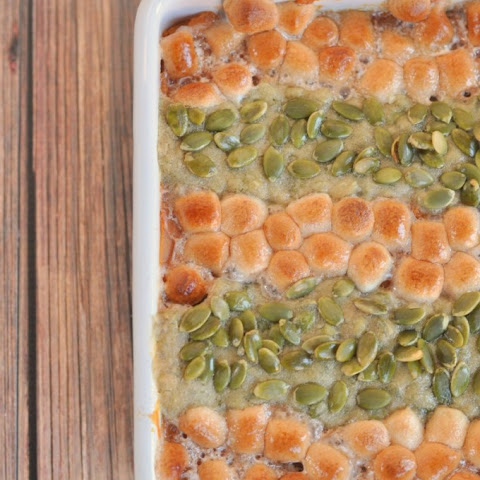 Sweet Potato Casserole with Cinnamon Marshmallows and Pepita Streusel