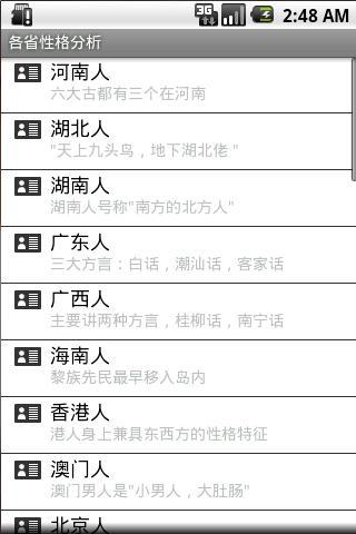 中国各省的人性格分析