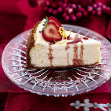 Lemon Cheesecake with Strawberries and Port Glaze