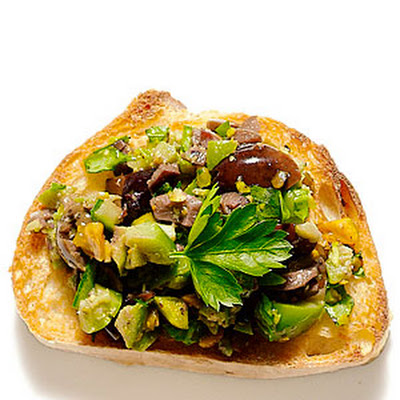 Olive and Pistachio Bruschetta