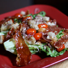 Dinner Tonight: Lettuce Hearts with Serrano, Fried Croutons and Tomatoes