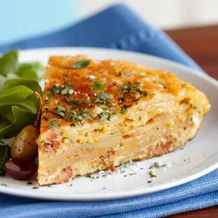 Spanish Tortilla With Broccoli, Chorizo, And Onion Recipe — Dishmaps