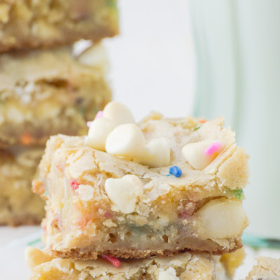 White Chocolate Macadamia Nut Funfetti Blondies
