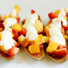 Peach, Strawberry, and Banana Bruschetta