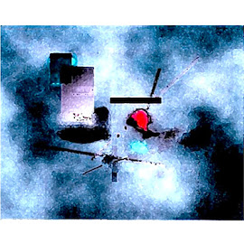 Heaven in Hell by Ronnie Caplan - Digital Art Abstract ( baby blue, abstract, bold, squares, balck, red, horizontal, white, lines, grey, computer art )