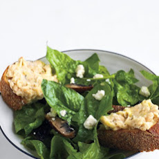 Spinach and Mushroom Salad with White-Bean Toasts