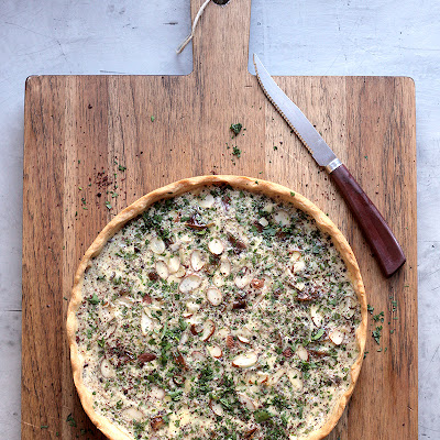 Date, Parsley, and Sumac Quiche with Crushed Almonds