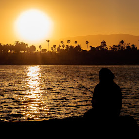 Fisherman on the Wharf by Brian Arnold - Landscapes Sunsets & Sunrises ( santa barbara, silhouette, sunset, california )