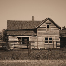Soon To Be Demolished by Brenda Hooper - Buildings & Architecture Homes ( home, sepia, oklahoma, red rock county, old home place, house, cattle, abandoned,  )