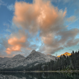 Morning Clouds Over East Lake by Cliff LaPlant - Landscapes Cloud Formations ( mountains; sierra nevada; range of light; hiking; backpacking; camping; outdoors; california; sierra; kings canyon; national park; kings canyon national park; sierralara; sierras; nikon; photography; climbing; beauty; mountain; discover; discovery; scenery; john muir; ansel adams; wilderness; wild; usa; united states; america; united states of america; sun; sunrise; dawn; dusk; sunset; light; clouds; morning; evening )