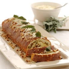 Cheese and Parsnip Roulade with Sage and Onion Stuffing