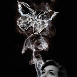 Beautiful Addiction by Lucy Perry - Digital Art People ( black and white, beauty, portrait, smoke, manipulation )