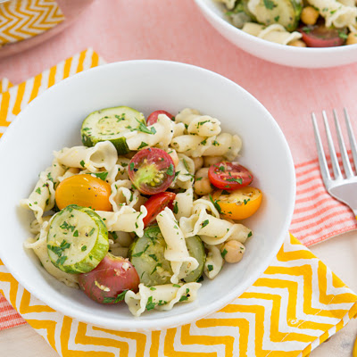Braised Zucchini, Cherry Tomato, and Chickpea Pasta