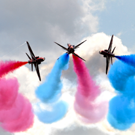 Reds Break by Steve Wright - Transportation Airplanes ( red arrows, yeovilton, nikon, raf, bae hawk, royal navy )