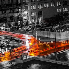 Light Trail  by Shadab Farrukh - City,  Street & Park  Street Scenes ( #vehicle, #light trail, #light, #moving, #trail )
