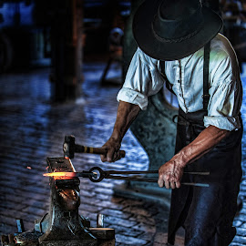 Smithy by Kerri Garrison - People Professional People ( balcksmith, pounding, steel, anvil, hammer, fire )