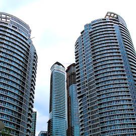 Condo City, Toronto by Ronnie Caplan - City,  Street & Park  Skylines ( circular, sky, patterns, tree, towers, balconies, condominiums, buildings, lines, windows, tall )