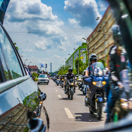 Motorcycles in a window by Claudia Corbu - Transportation Motorcycles ( mirror, car, motorcycles, traffic )