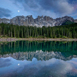Lago Carezza Reflections III by Michael Otter - Landscapes Waterscapes