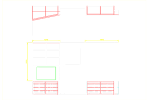 CAD Drawing of Fireside Cupboards and Shelves in Oak