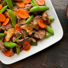 Grace Young's Stir-Fried Ginger Beef with Sugar Snaps and Carrots Recipe