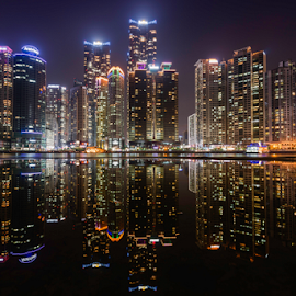 Marine City by Keith Homan - City,  Street & Park  Skylines ( skyline, reflection, metropolis, skyscrapers, haeundae, cityscape, architecture, apartments, business, panorama, city, asian, modern, financial district, busan, homank photography., asia, downtown, busan . south korea, water, keith homan, business district, office buildings, scenic, korean, urban, scene, pusan, night, scenery, panoramic, south korea, , Free, Freedom, Inspire, Inspiring, Inspirational, Emotion )