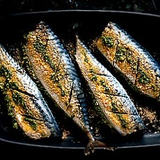 Oven-baked Mackerel Stuffed with Pesto Mash