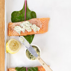 Roasted Salmon Wrapped in Swiss Chard