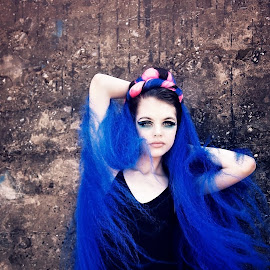 Blue Hair Don't Care by Chrystal Olivero - People Fashion ( fashion, blue, colors, hair, portrait )
