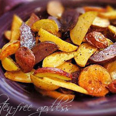 Sea Salt Roasted Blue, Red and Gold Potatoes