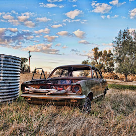 Bardens' Holden by Carole Pallier Cazzazsnapz - Landscapes Prairies, Meadows & Fields ( field, farm, car, wreck, sunrise, rust, tank )