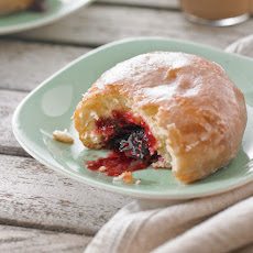 Lemon-Glazed Raspberry Jam Doughnuts