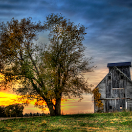 Sunset Crib by John Larson - Landscapes Sunsets & Sunrises ( clouds, sky, grass, crib, sunset, trees )