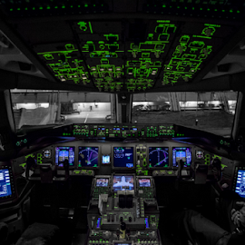 View from the cockpit by Dimitri Foucault - Transportation Airplanes ( airplanes, cockpit, night )