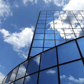 Confusion by Bruno Gueroult - Buildings & Architecture Architectural Detail ( canon, nuages, abstract, batiment, immeuble, bleu, reflet, architecture )
