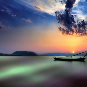 ----- by Dimitrios Lamprou - Landscapes Waterscapes ( sky, water.long exposure, sunset, mesologi, boat )