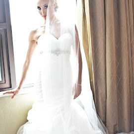 The final stare by JOSH WOLFE - Wedding Bride ( staredown, dress, wedding, gown, bride, light )