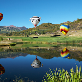 Balloon Reflection by Lizzy Foxx - Landscapes Travel ( ride, reflection, mountain, snowmass, colorado, hot, lake, festival, air, balloon, aspen )