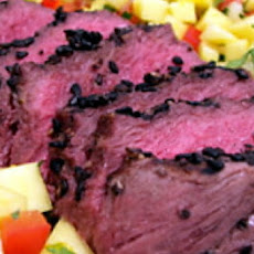 Herb and Garlic-Crusted Beef Tenderloin with Red and Yellow Pepper Relish