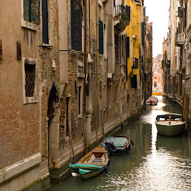 Venice Canal by Richard Greenall - City,  Street & Park  Historic Districts ( water, italia, venice, yellow, boat, light, italy, canal, historic )