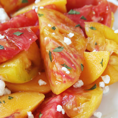Sliced Peach and Heirloom Tomato Salad