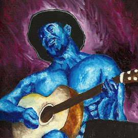 by Veronica Blazewicz - Painting All Painting ( music, blue, art, guitar, painting, artwork )