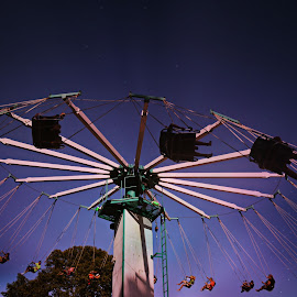 Just swingin' by Melissa Marts Faust - City,  Street & Park  Amusement Parks ( amusement park, stars, outdoors, night, swing )