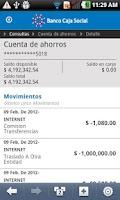 Screenshot of Banco Caja Social Móvil