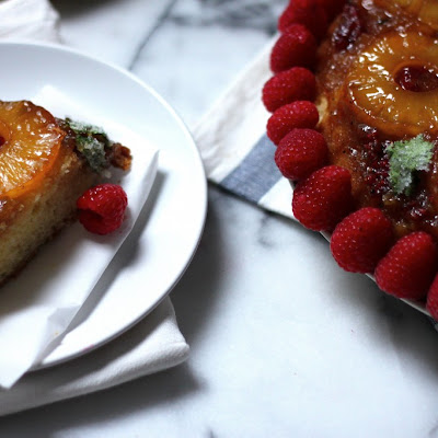 Pineapple Upside Down Cake with Candied Cilantro – Baker by Nature