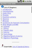 Screenshot of Nutrition Study Guide