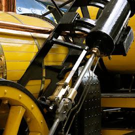 Stephenson's Rocket by Chrissie Barrow - Transportation Trains ( wheel, rocket, piston, train, yellow, stephenson, black, closeup,  )