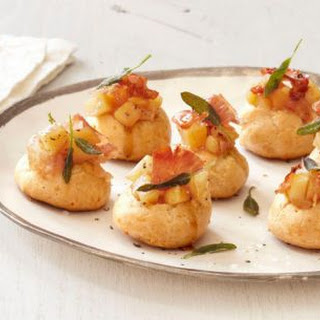 White Cheddar Gougeres, Apple Pulp, Prosciutto and Sage